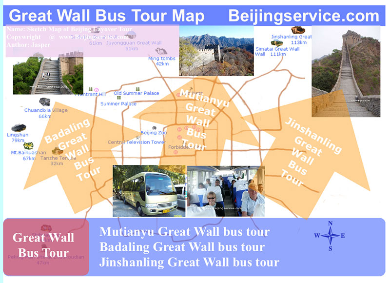 Big Map of Great Wall bus tour