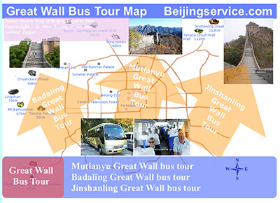 Map of Great Wall bus tour