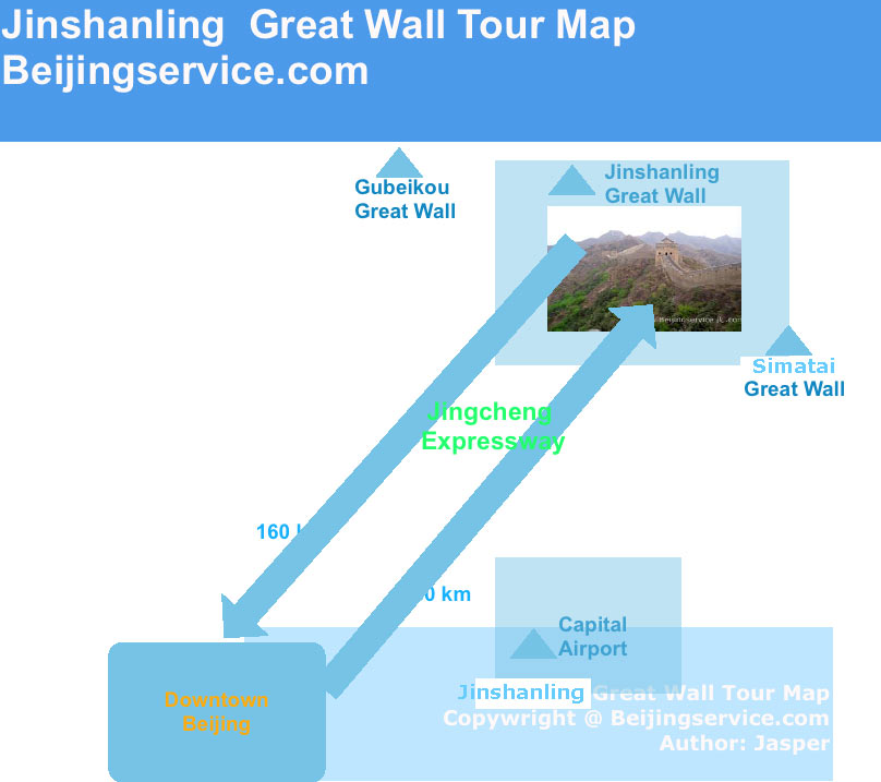 Map of Jinshanling Great Wall tour map