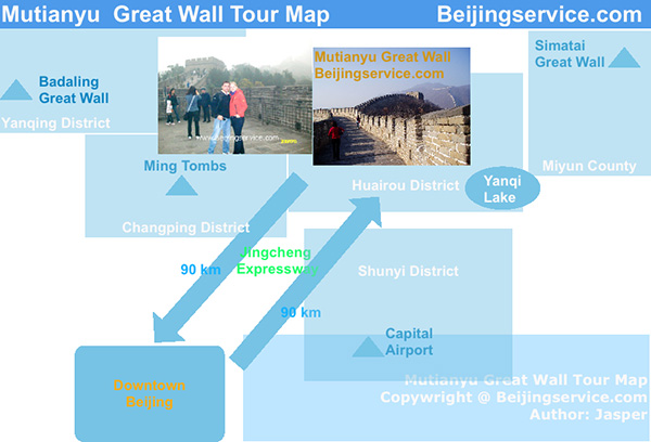 Mutianyu Great Wall Tour Map